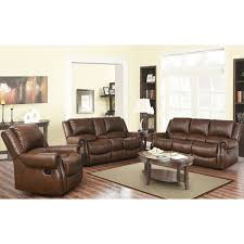 Brown Leather Recliner Sofa Set Abbyson Calabasas Mesa Brown 3 Reclining Living Room Set