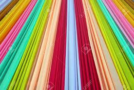 colorful designer ornate colorful designer curtains in multi colors stock photo