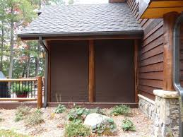 screen porch shades protect rustic exterior minneapolis by