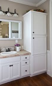 gorgeous interesting bathroom vanity with linen cabinet chic on