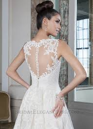 low lace ball gown with illusion neckline wedding dresses