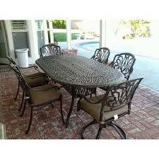 powder coated aluminum outdoor dining table elizabeth cast aluminum powder coated 7pc outdoor patio dining set
