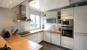 cuisine blanc laqué et bois ordinary cuisine blanc laque plan travail bois 1 visor cuisines