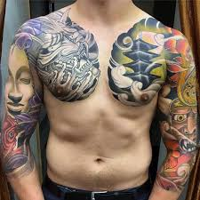 Chest And Half Sleeve - 60 japanese half sleeve tattoos for manly design ideas