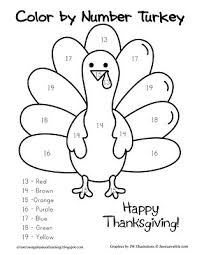 there is an easy turkey color by number and links to a thanksgiving