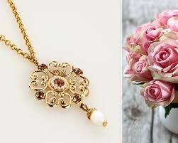 gold flowers necklace images Delicate gold flower pendant necklace floral romantic etsy jpg