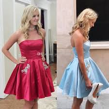 strapless short homecoming dresses ruched elastic satin crystal