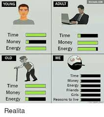 Old Language Meme - young time money energy old time money energy adult time money