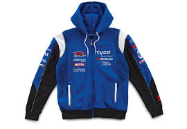 genuine unisex tyco suzuki 2012 team hoodie blue cotton polyester