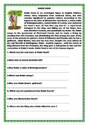 english worksheet robin hood reading and wh questions match