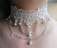 white lace necklace images White lace pearl choker white pearl bridal choker hanging etsy jpg