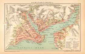 Map Of Istanbul 1895 Original Antique Map Of Constantinople Istanbul And