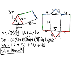 showme surface area for a right angled triangular prism