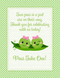 two peas in a pod baby shower decorations thank you favor sign for baby shower peas in a pod baby shower