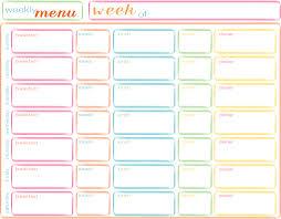 7 best images of weekly menu printable free printable weekly