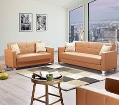Faux Leather Living Room Set Viva Italia Prestige Orange Faux Leather Mdf Plywood Living Room