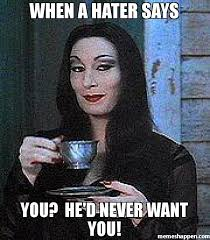 Hater Memes - when a hater says you he d never want you meme morticia 30706
