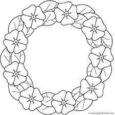 poppy wreath coloring page plants
