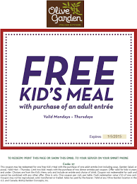 Printable Olive Garden Coupons Olive Garden Printable Coupon Free Kids U0027 Meal With En