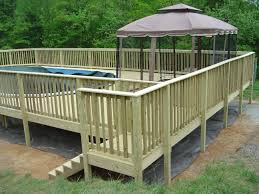 wood deck around inground pool affordable image of wooden pool