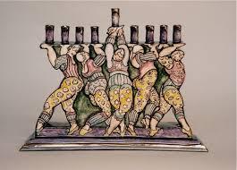 ceramic menorah ceramic menorahs functional ceramics leslie roth painting