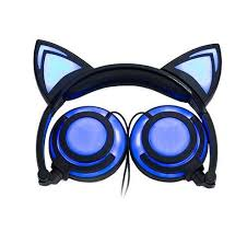 light up cat headphones led foldable light up cat ear headphones for gaming phones pc s