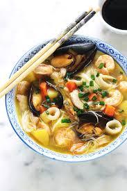 cuisine chinoise facile soupe au poulet fruits de mer vermicelles sans gluten cuisine
