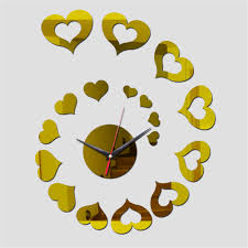 2016 special offer sale best selling mirror wall clock 3 d heart