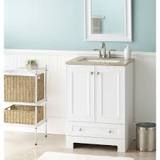 White Bathroom Cabinets by Shop Style Selections Emberlin White Integral Single Sink Bathroom