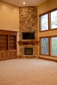 Living Room Cabinets With Doors Beautiful Corner Fireplace Design Ideas With Stone And Custom Wood