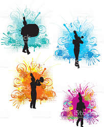 tight graphic silhouette background illustration of a marching
