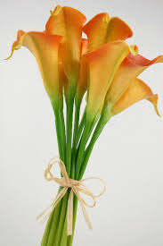 cala lillies real touch orange calla wedding bouquet 12 flowers