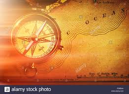 Usa Map Image Antique Brass Compass Over Old Usa Map Stock Photo Royalty Free