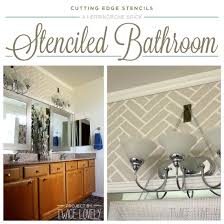 bathroom stencil ideas a herringbone brick stenciled bathroom stencil stories stencil
