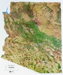 Arizona Map State by Satellite Image Arizona State Raised Relief Map
