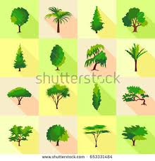 tree type forms icons set flat stock vector 653331484