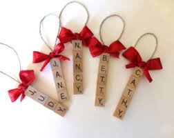 set of 5 custom scrabble tile ornaments up to 5 letters per