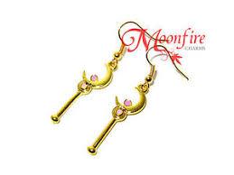 sailor moon crescent moon wand earrings crisis moon