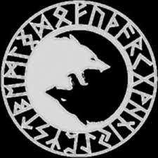 wolf yin yang symbol with runes a bit different from the