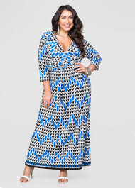 printed knot front maxi dress plus size dresses ashley stewart 010