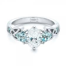 custom diamond and blue topaz engagement ring 102249