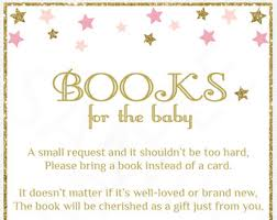 Baby Shower Instead Of A Card Bring A Book Star Bring A Book Instead Of A Card Pink Gold Glitter Twinkle