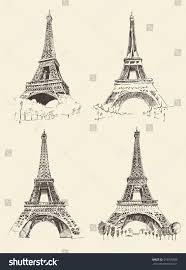 set eiffel tower sketches paris france stock vector 315555806