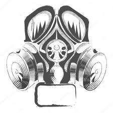 vector respirator graffiti steampunk style gas mask on white