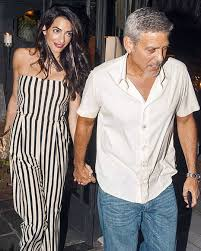 is amal clooney hair one length amal clooney enjoys dinner date in italy with george clooney and