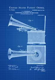Home Theatre Decor Gramophone Box Patent Patent Print Wall Decor Gramophone