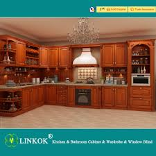 linkok furniture dark brown solid wood kitchen cabinets modular
