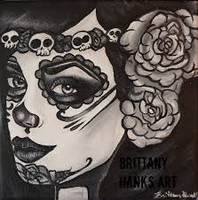 satin paper print black and white day of the dead roses
