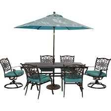 Patio Furniture Set With Umbrella - cambridge seasons 7 piece patio outdoor dining set with blue
