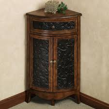 rustic tall wood corner liquor cabinet with double doors plus with